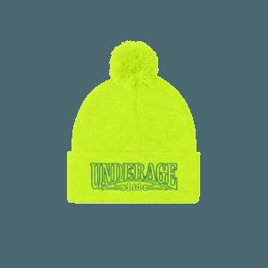 Underage lucas logo product beanie 1 neon yellow green