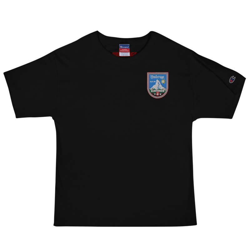 Underage blue sky mountain embroidered tshirt champion black front product