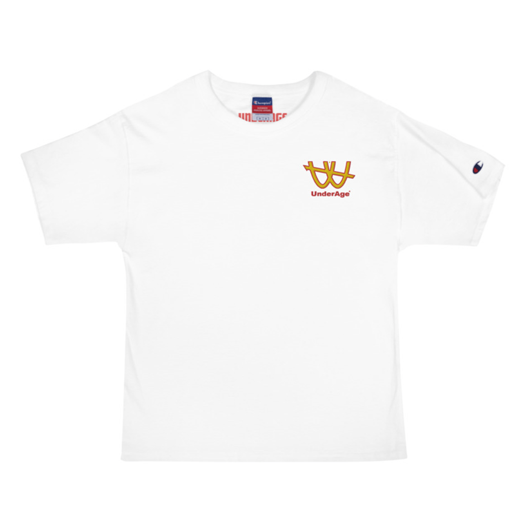 Underage double u embroidered tshirt champion white front product