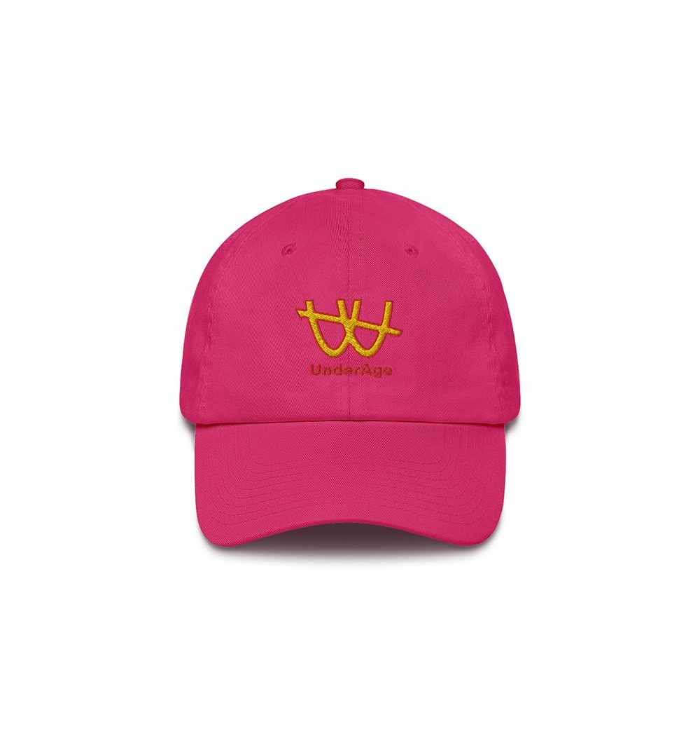Underage double u logo hat product bright pink front