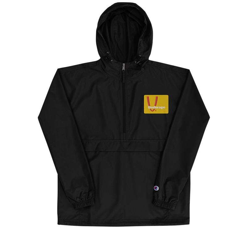 Underage fast logo champion jacket black front