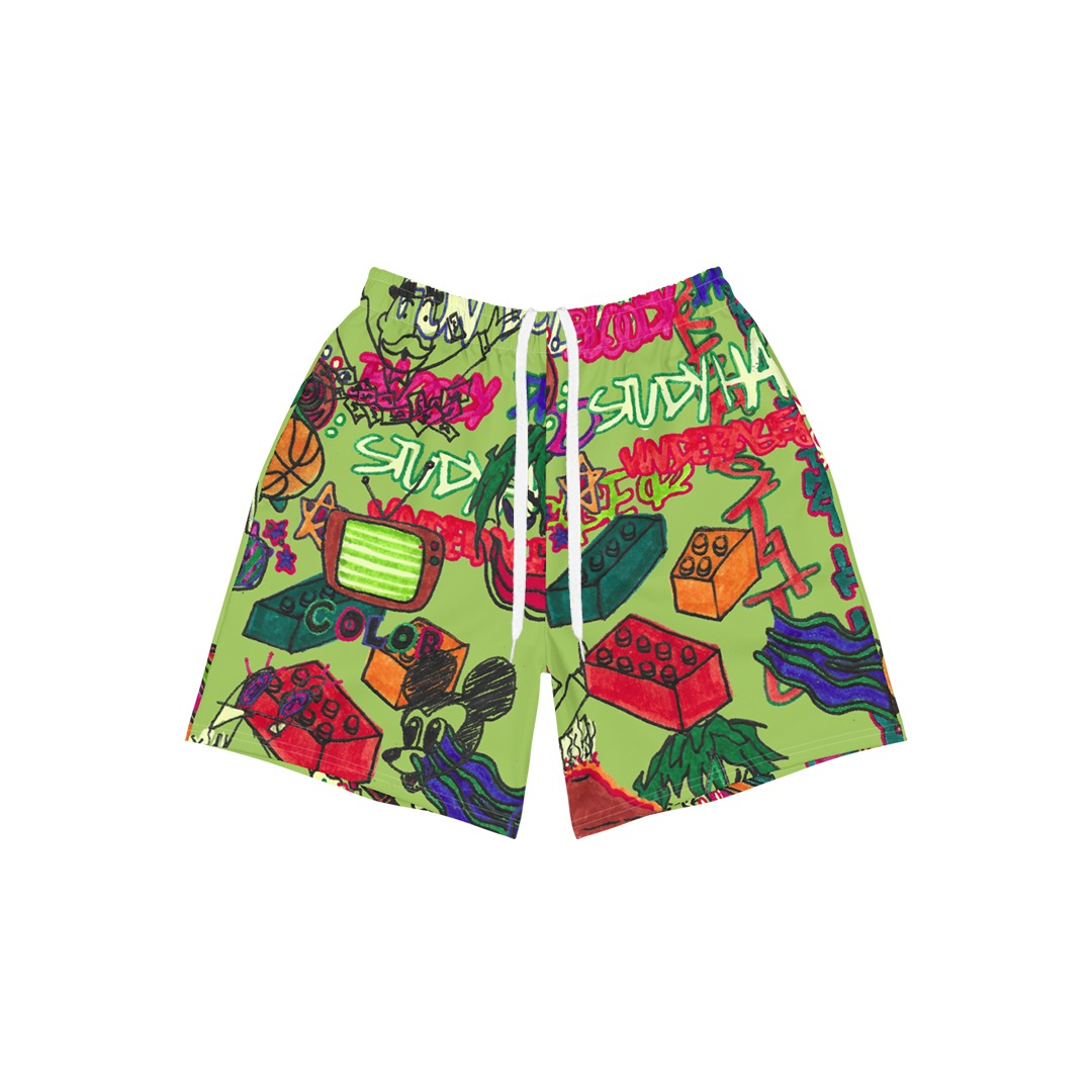 Underage study hall athletic shorts green product front 2 strings