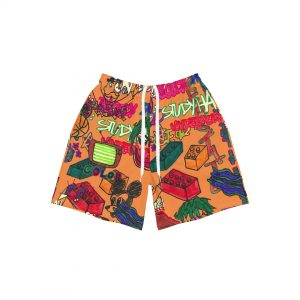 Underage study hall athletic shorts orange product front 2 strings