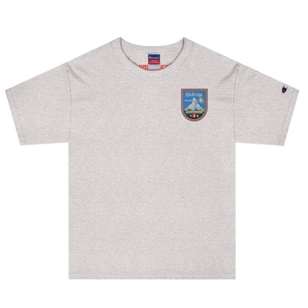 Underage blue sky mountain embroidered tshirt champion heather grey front product