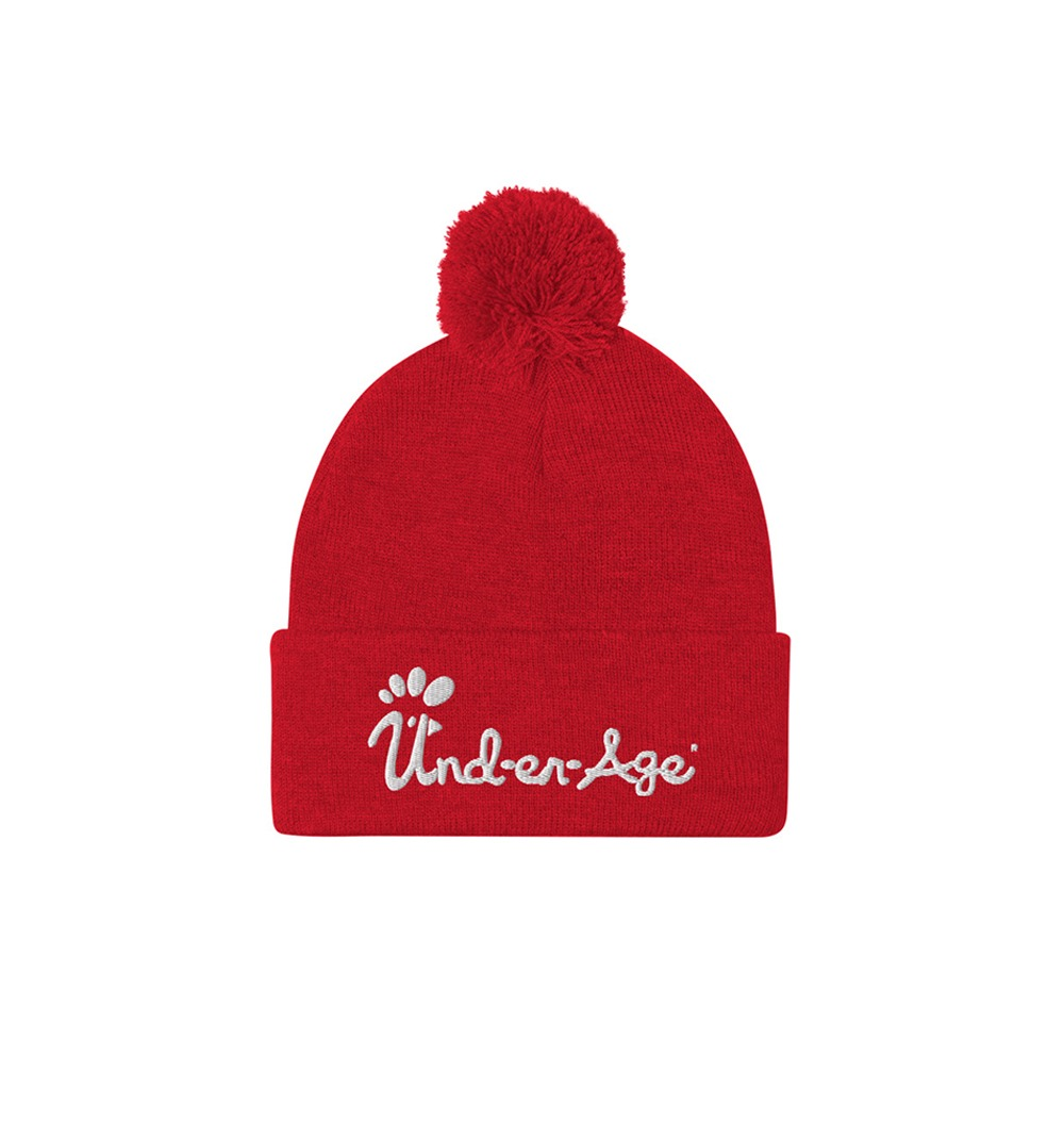 Underage embroidered pom pom beanie product red