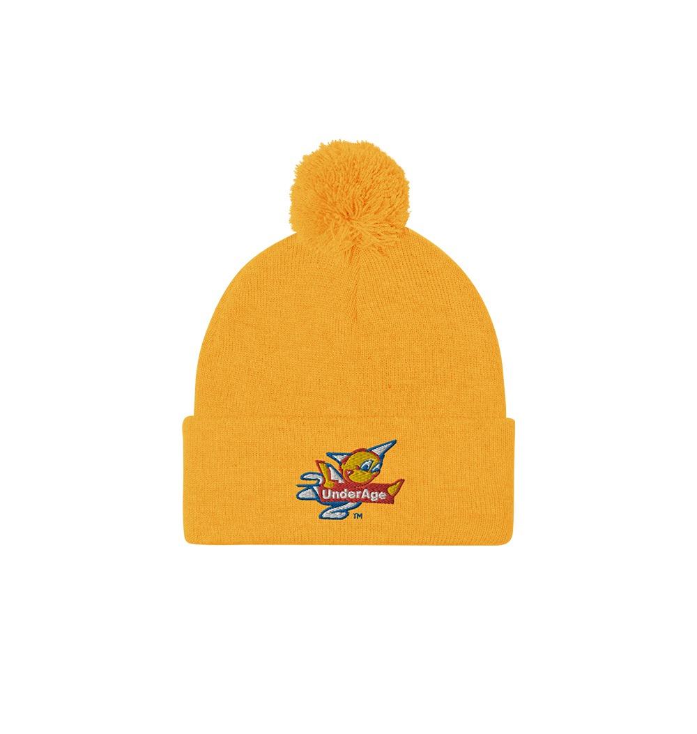 Underage fast alt logo product pom pom beanie gold