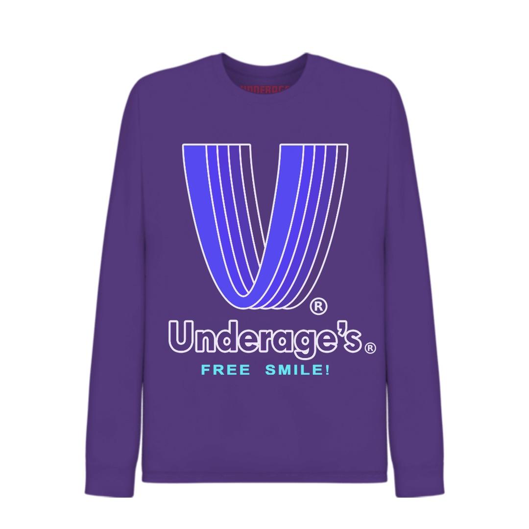 Underage underages free smile tshirt product longesleeve tshirt purple divide edition