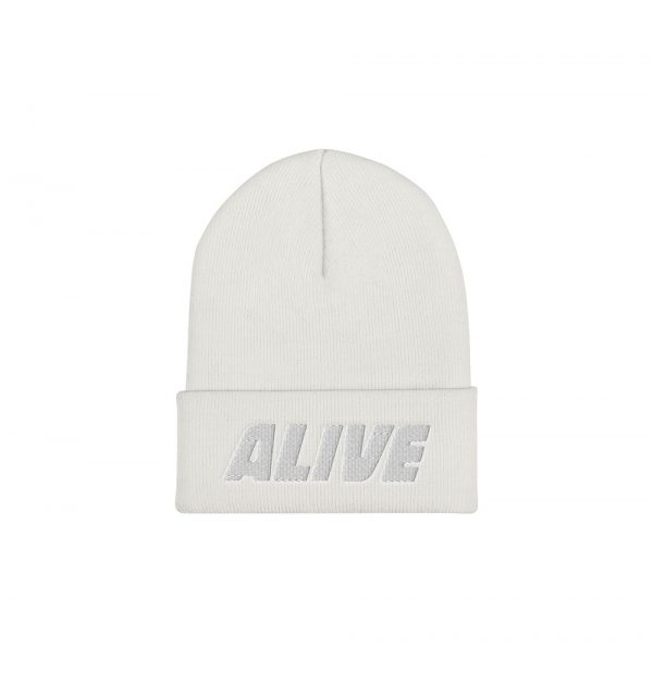 Underage alive embroidered logo product beanie-white