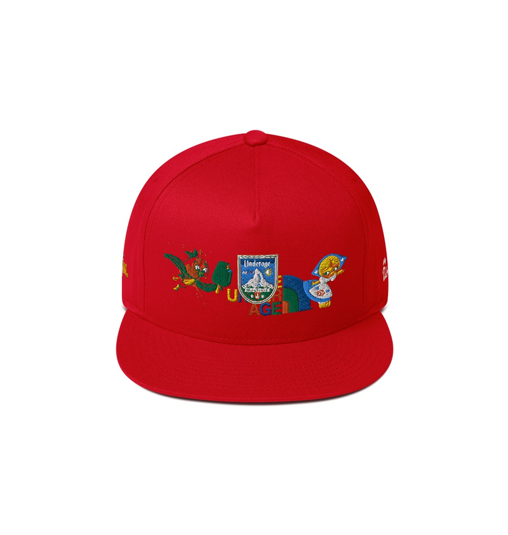 Underage west coast dream summer flat bill cap red product front