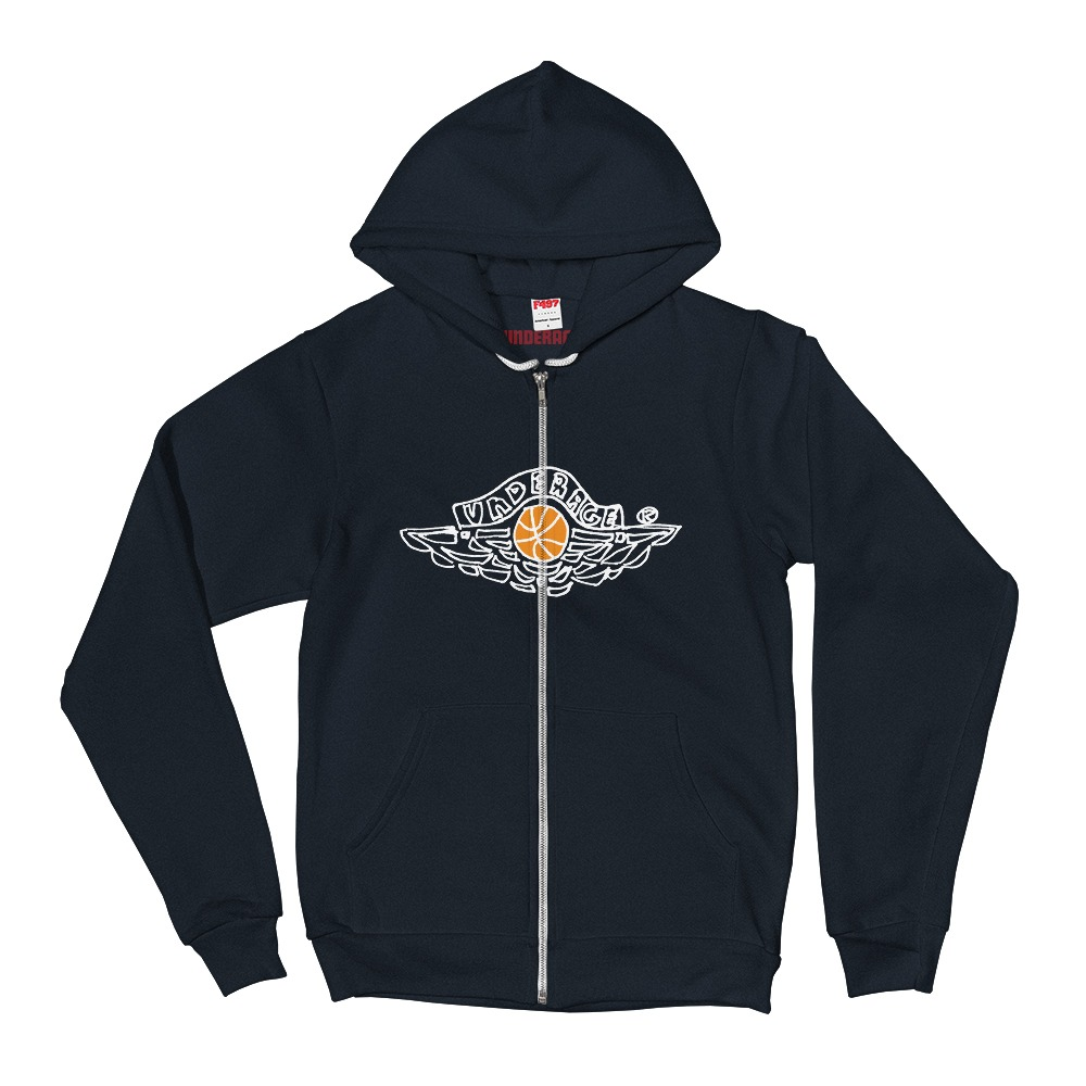 Underage wings zip hoodie navy product front