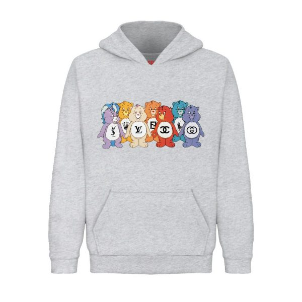 Underage designer care bears hoodie product heather grey front