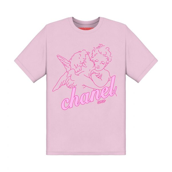 Chanel angels tshirt underage product baby pink front