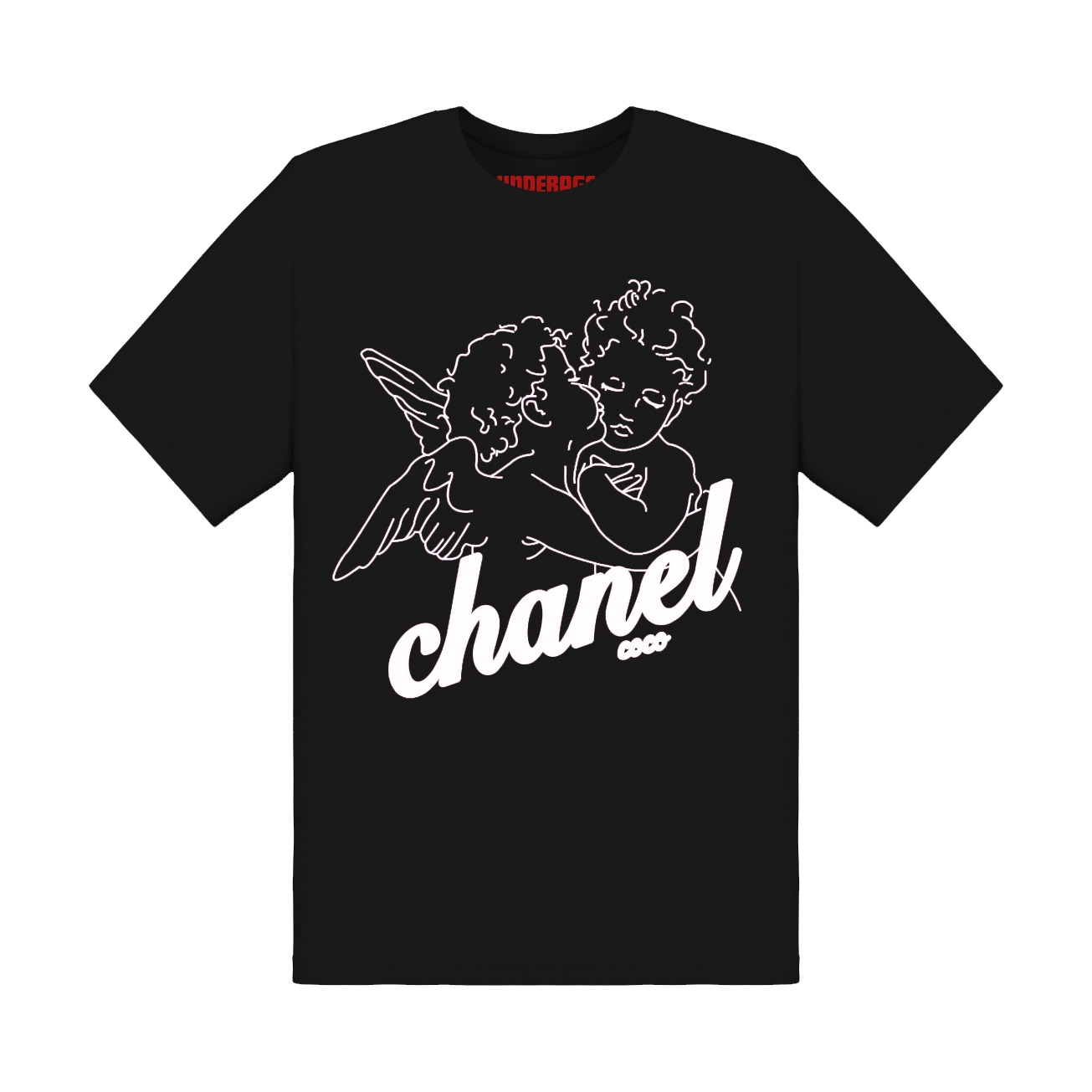 Chanel angels tshirt underage product black white front