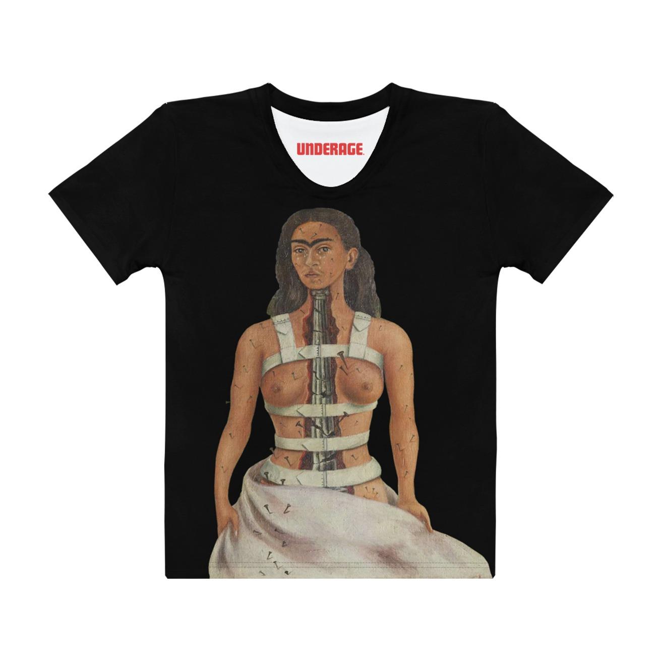 Frida kahlo broken column tshirt underage product black front