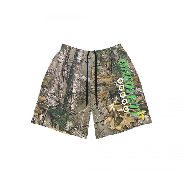 Vanilla space broken world camouflage athletic shorts product front strings