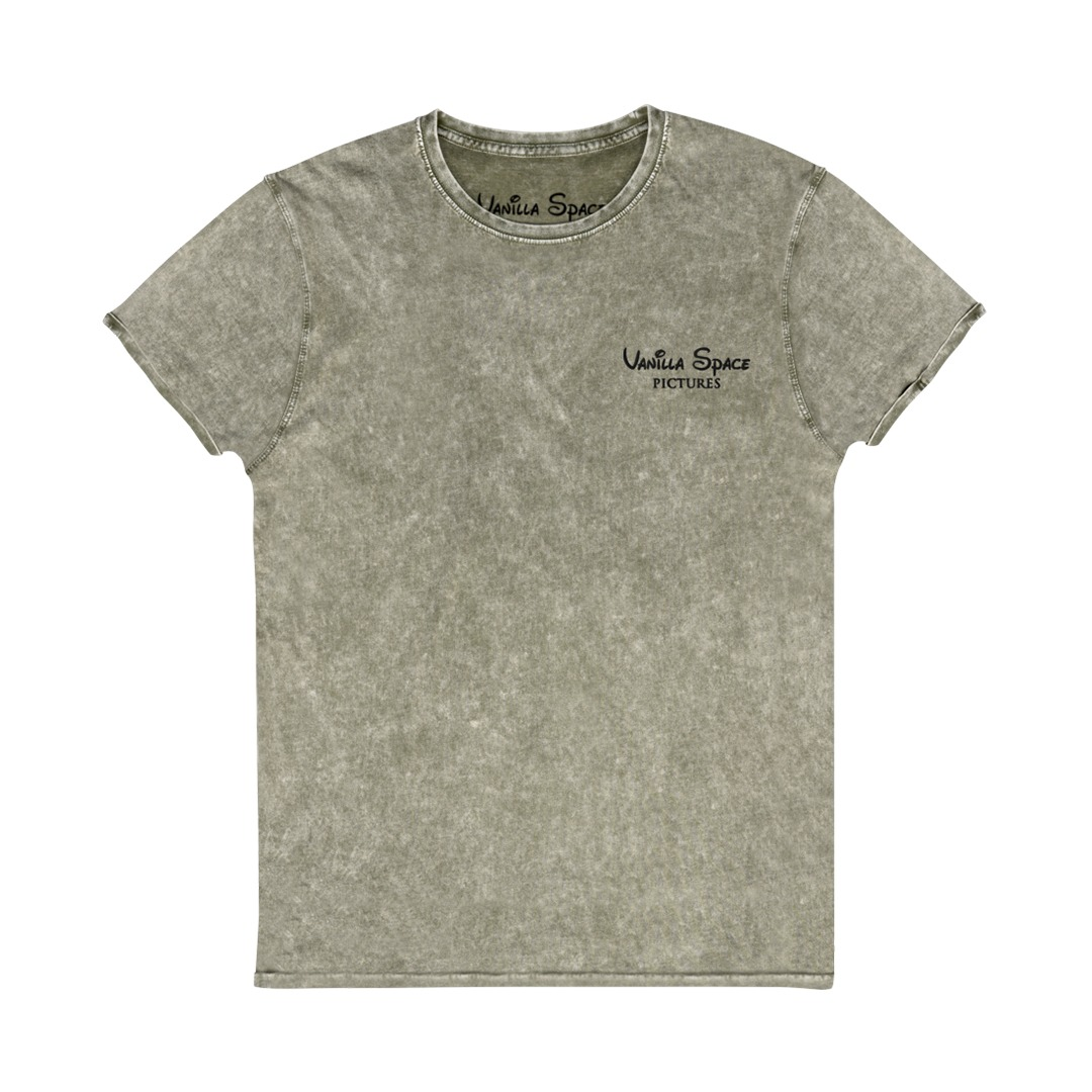 Vanilla Space Pictures Embroidered Denim Tshirt Dark Army Green Product