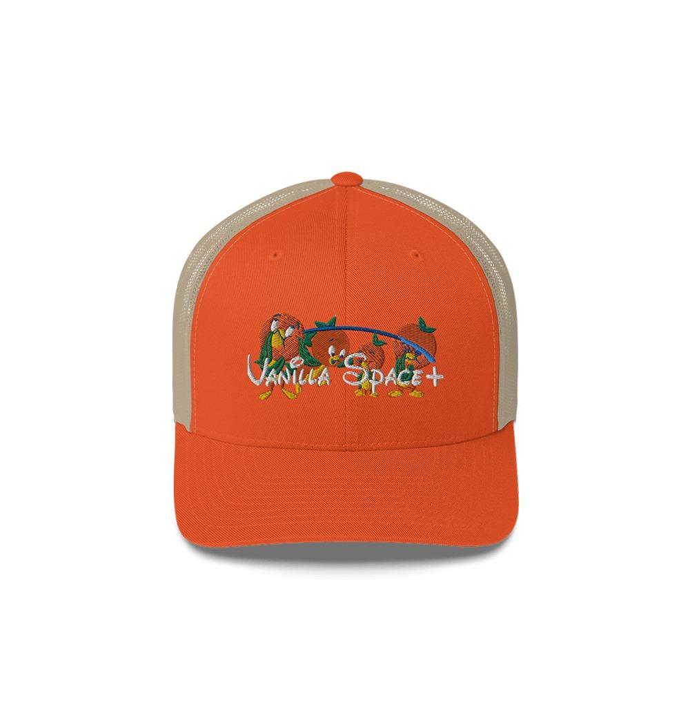 Vanilla space vanilla space orange birds embroidered trucker cap product orange khaki front